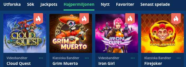 Hajpermiljonen spelutbud svensknatcasino se