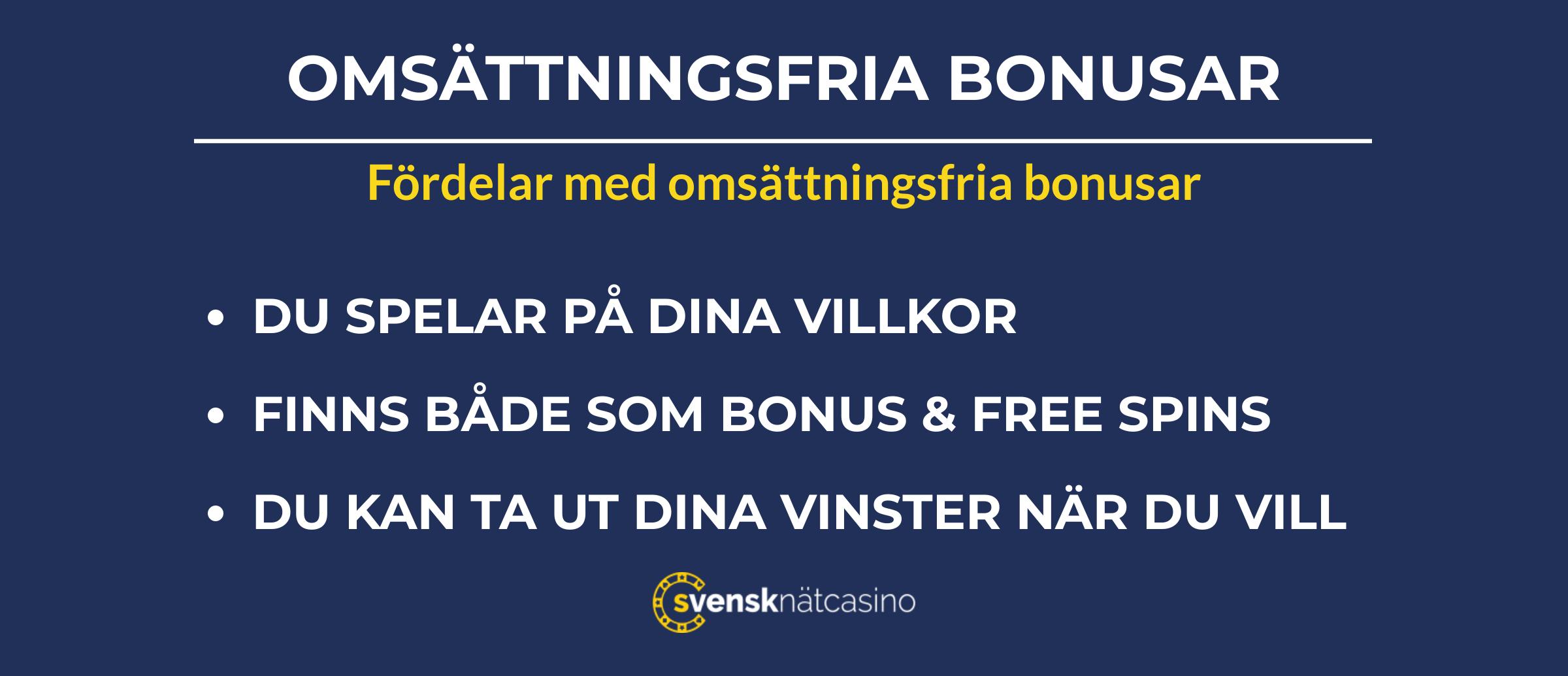 fordelar med omsattningsfria bonusar svensknatcasino se